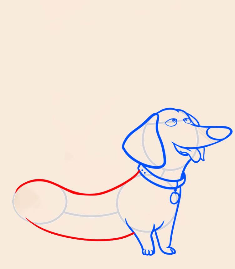 Такса из мультфильма про домашних животных, как нарисовать