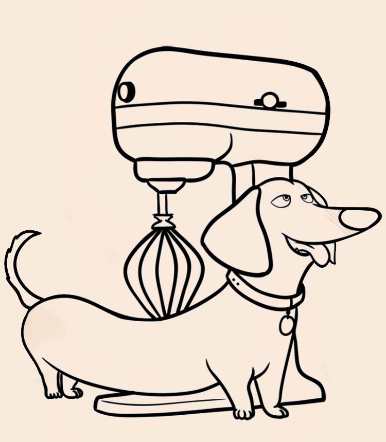 Как нарисовать таксу с миксером из фильма про животных
